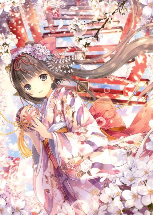 brunettes flowers kimono torii flower petals anime girls original characters wallpaper