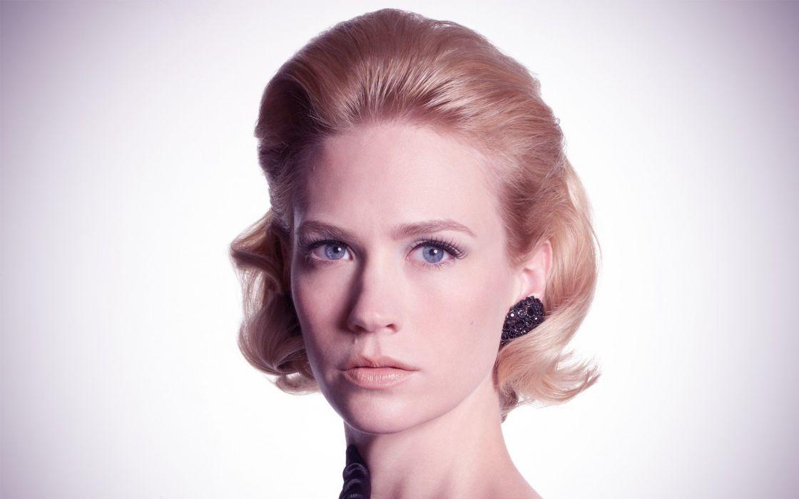 blondes women actress January Jones faces portraits wallpaper