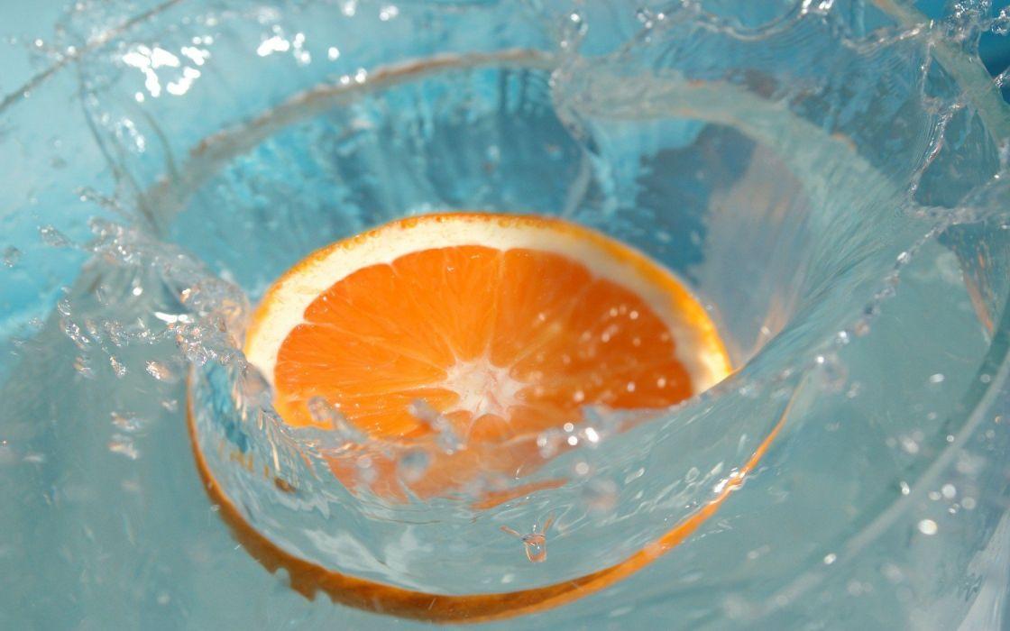 water fruits oranges orange slices splashes wallpaper