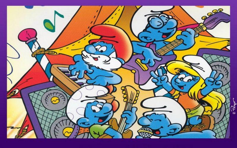 cartoons The Smurfs Papa Smurf Smurfette musical instruments wallpaper