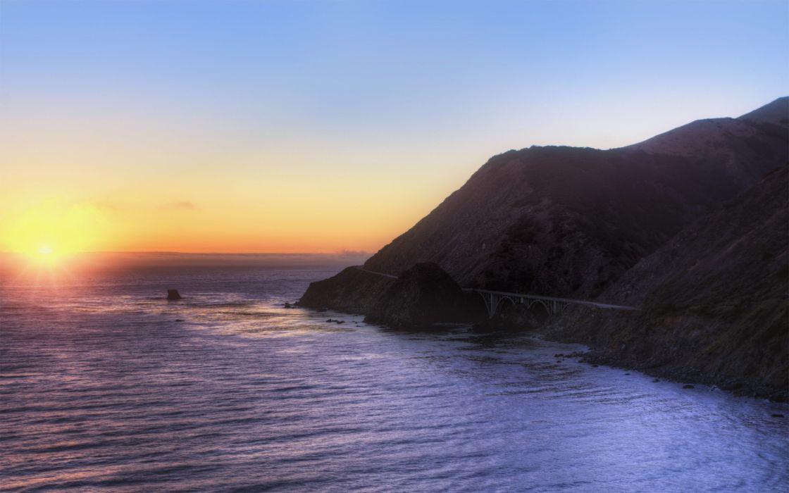 sunset ocean landscapes nature coast wallpaper