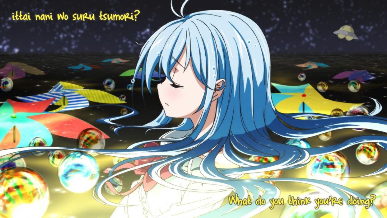 blue hair anime anime girls Ending wallpaper