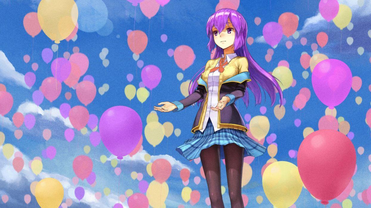 skirts long hair purple hair pantyhose air balloons  purple eyes anime girls sleeves original characters sky wallpaper