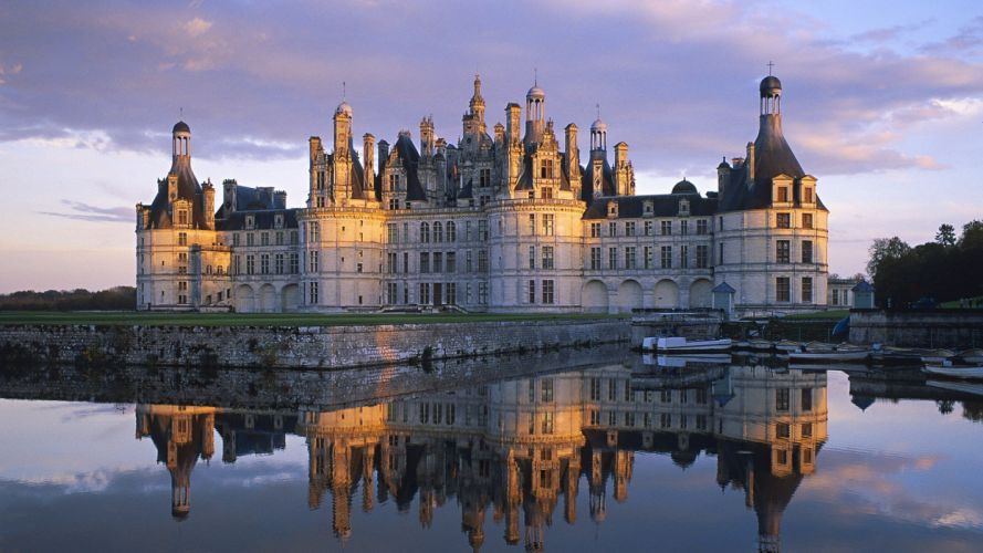 landscapes castles architecture France historic reflections wallpaper