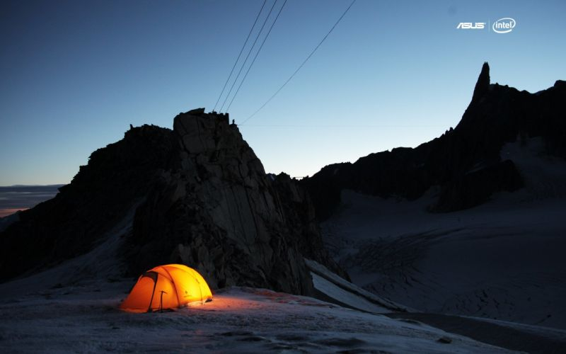 mountains snow journey Asus Intel camping tent wallpaper