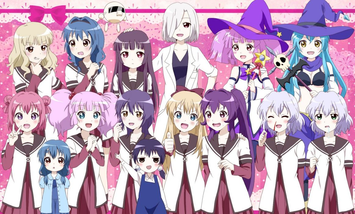 witch skulls blue eyes blood glasses long hair pink hair red eyes seifuku wand blush ponytails braids pink eyes Yuru Yuri wallpaper