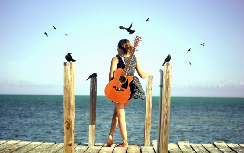 women models piers guitars crows photo manipulation water body beaches wallpaper