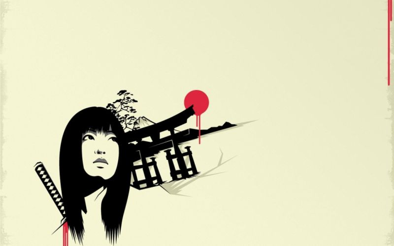 women katana samurai Japanese torii girls with swords simple background swords wallpaper