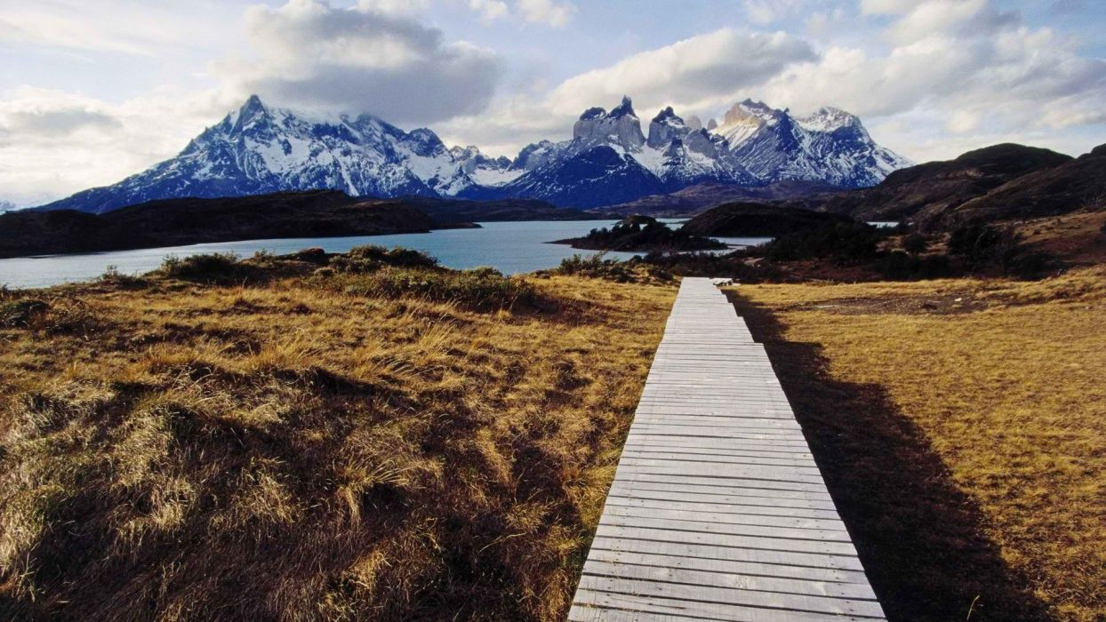 Chile Paine walkway wallpaper
