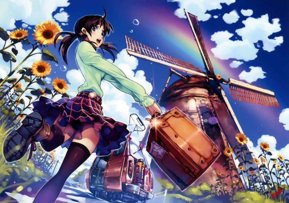 brunettes skirts brown eyes thigh highs windmills sunflowers anime girls Vania600 original characters wallpaper
