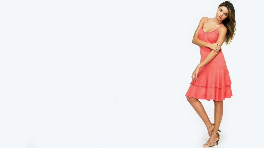 women Miranda Kerr models high heels pink dress wallpaper