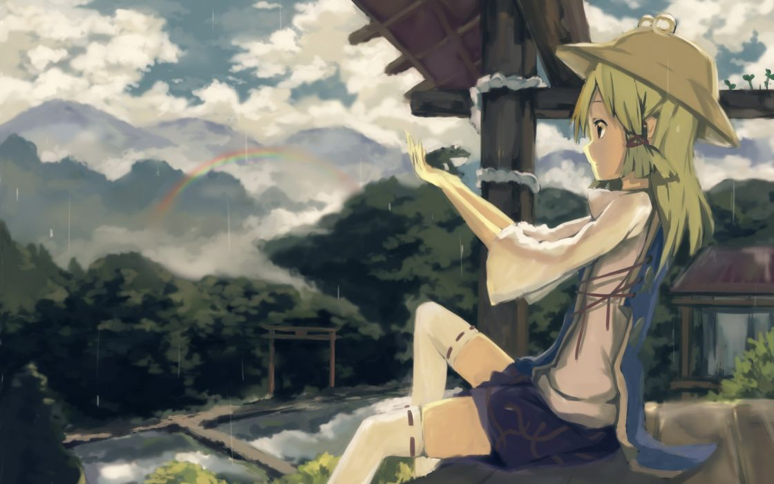 blondes video games mountains clouds Touhou trees rain skirts long hair buildings Goddess rainbows thigh highs scenic Moriya Suwako sitting water drops torii hats anime girls ropes hair ornaments tabard skies wallpaper