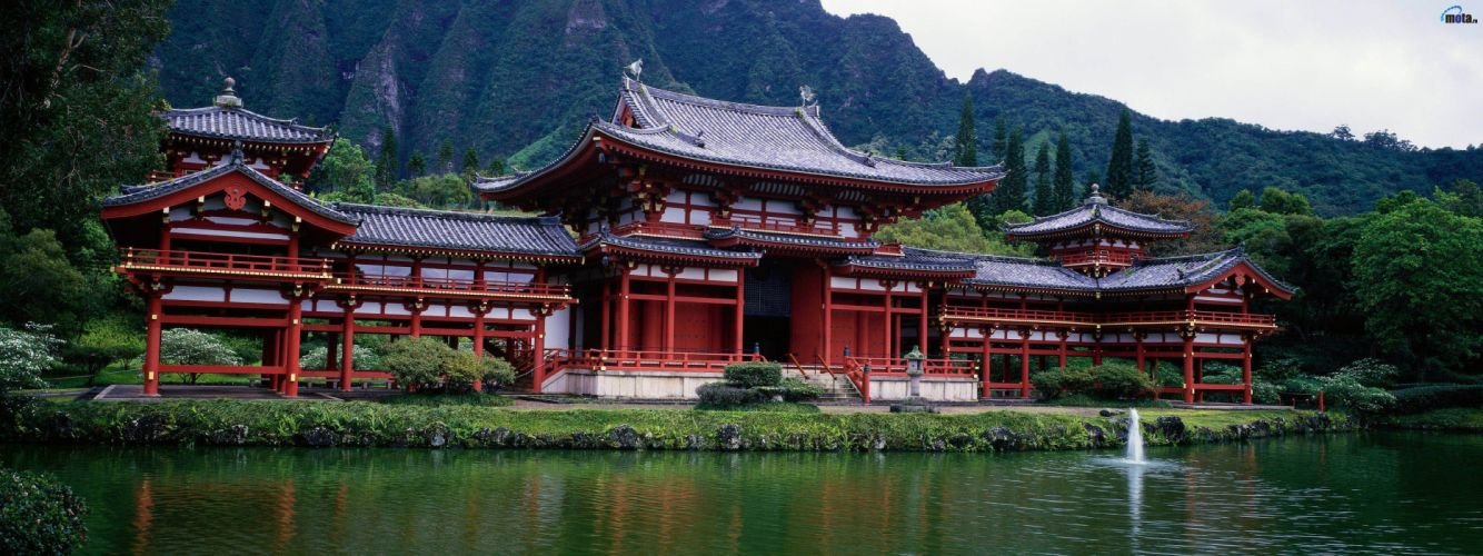 green water nature dual screen Hawaii ancient Asian architecture lakes multiscreen tranquility wallpaper