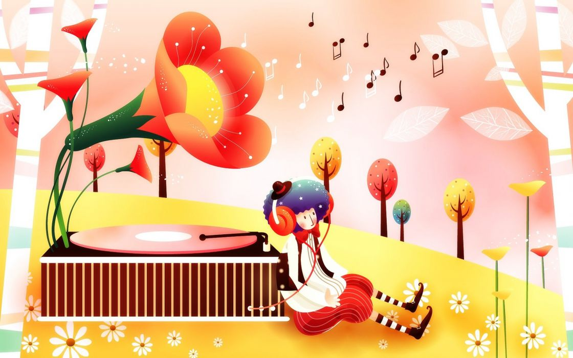 fantasy art gramophone childhood fairytales wallpaper