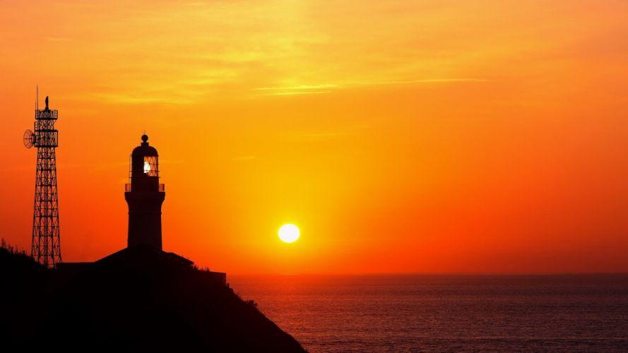sunset landscapes lighthouses wallpaper