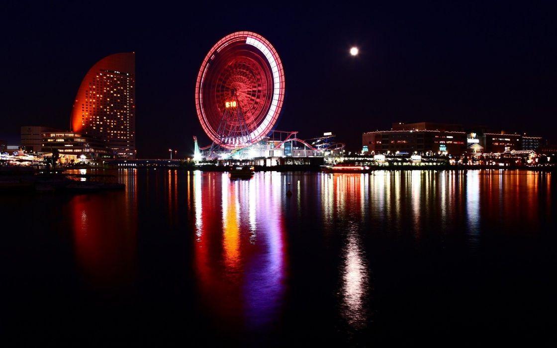 water night multicolor Yokohama wheels reflections Minato Mirai 21 wallpaper