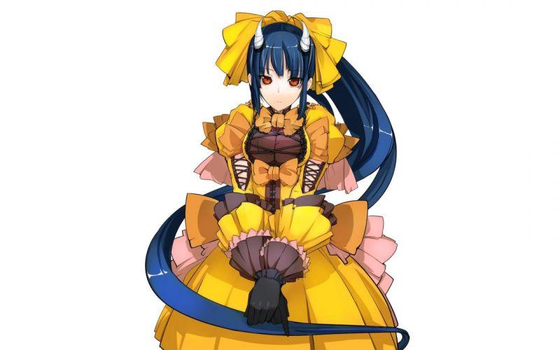 horns long hair blue hair Pixiv yellow dress anime girls wallpaper