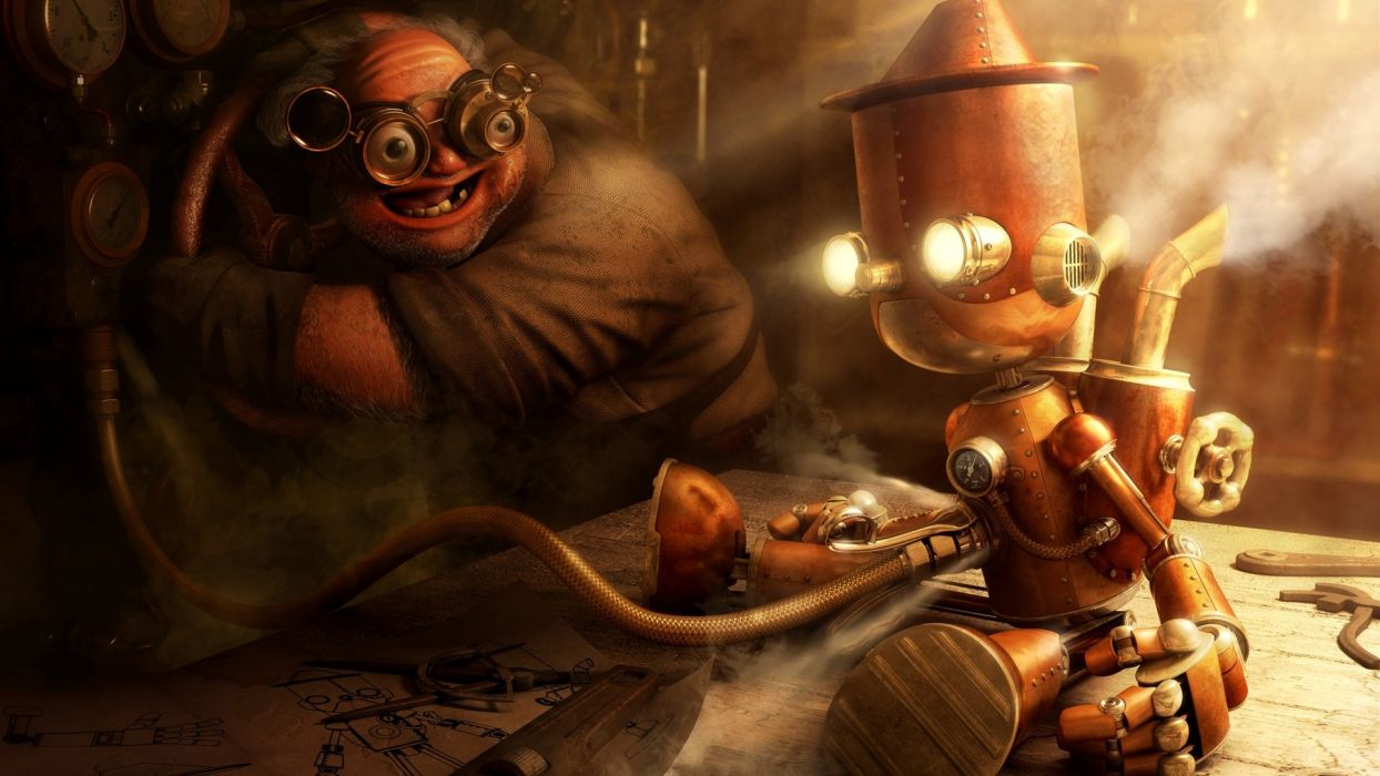 robots steampunk goggles realistic wallpaper
