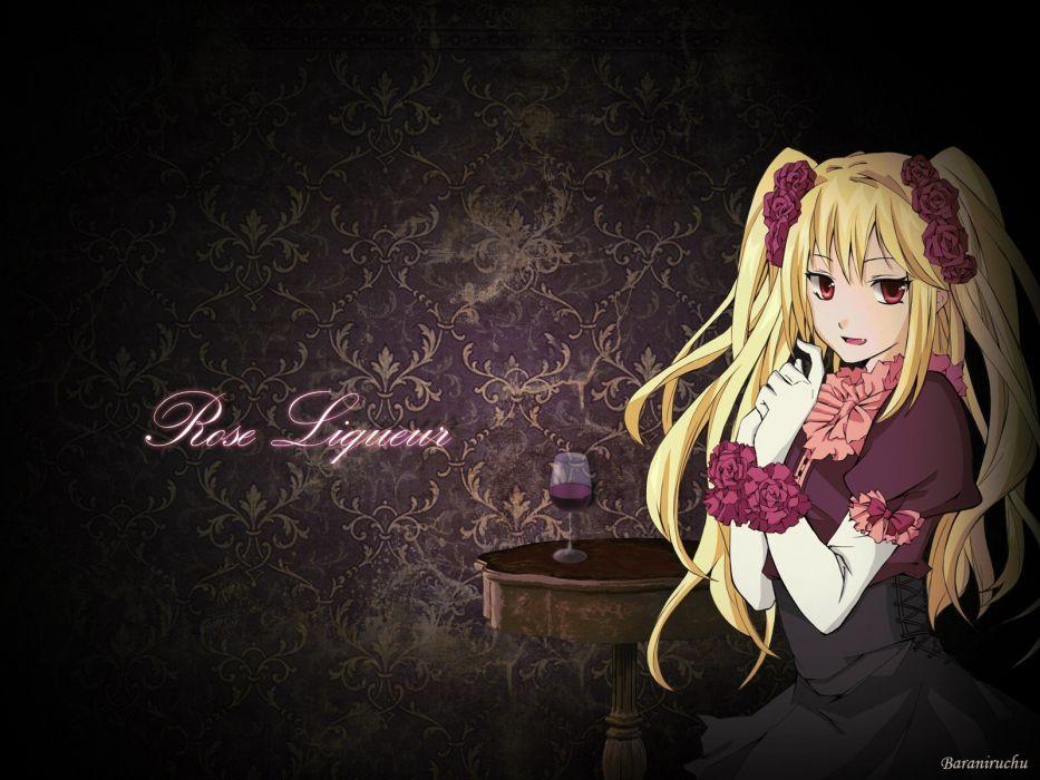 glass long hair tables wine red eyes anime roses anime girls wallpaper