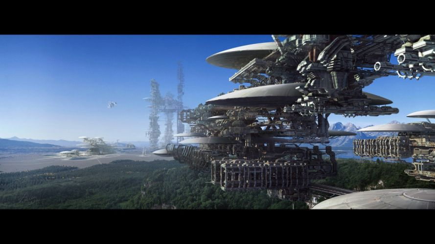 cityscapes futuristic forests digital art industrial plants wallpaper
