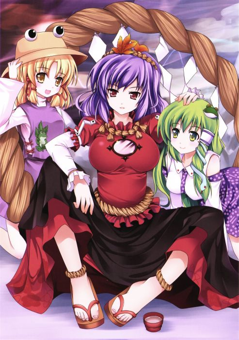 blondes boobs Touhou skirts long hair green eyes Goddess purple hair Miko red eyes short hair green hair yellow eyes Moriya Suwako ponytails sake Kochiya Sanae shrine maiden outfit vertical Yasaka Kanako skyscapes hats shimenawa anime girls detached sleev wallpaper