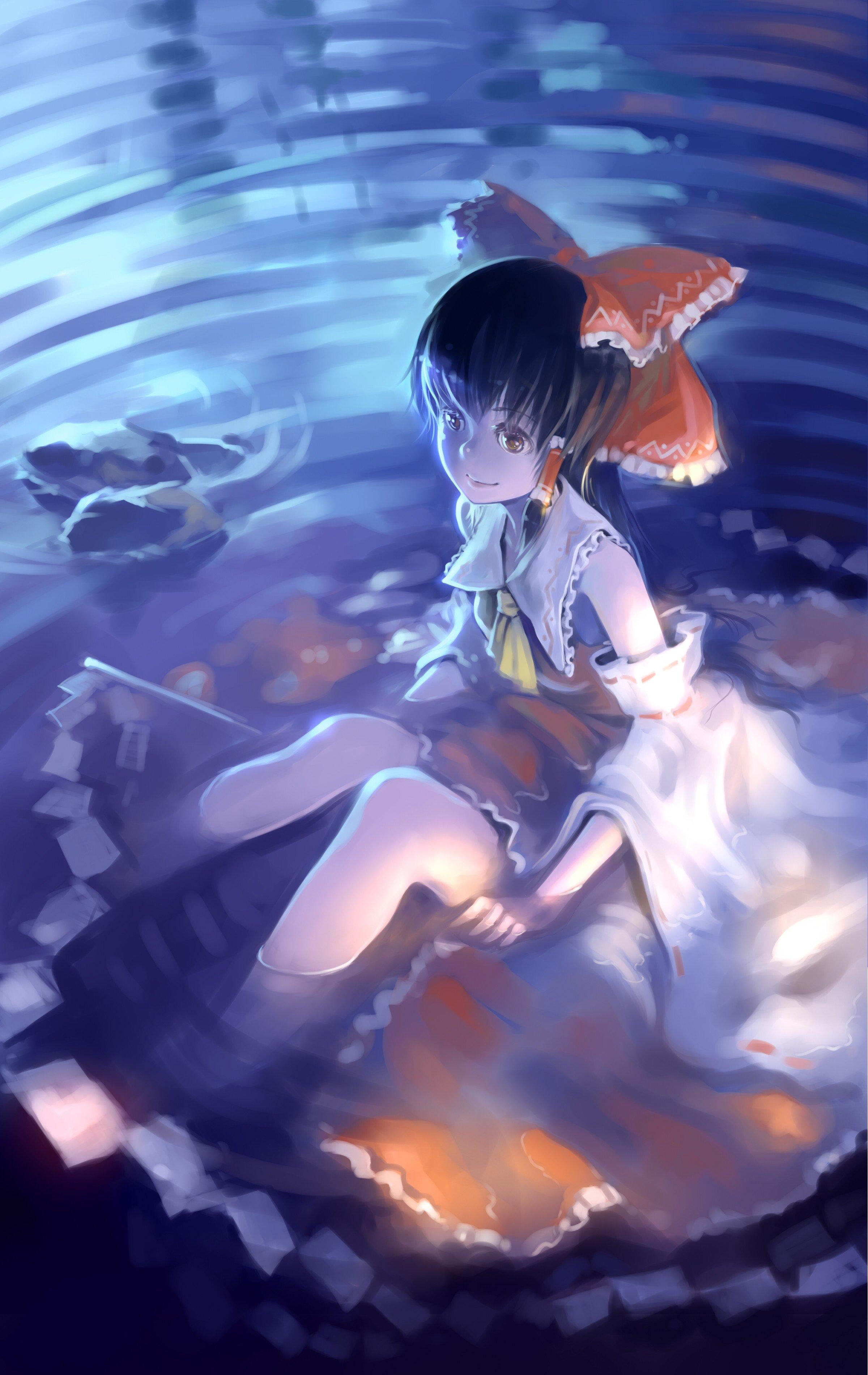 Water Video Games Blue Touhou Long Hair Brown Eyes Miko