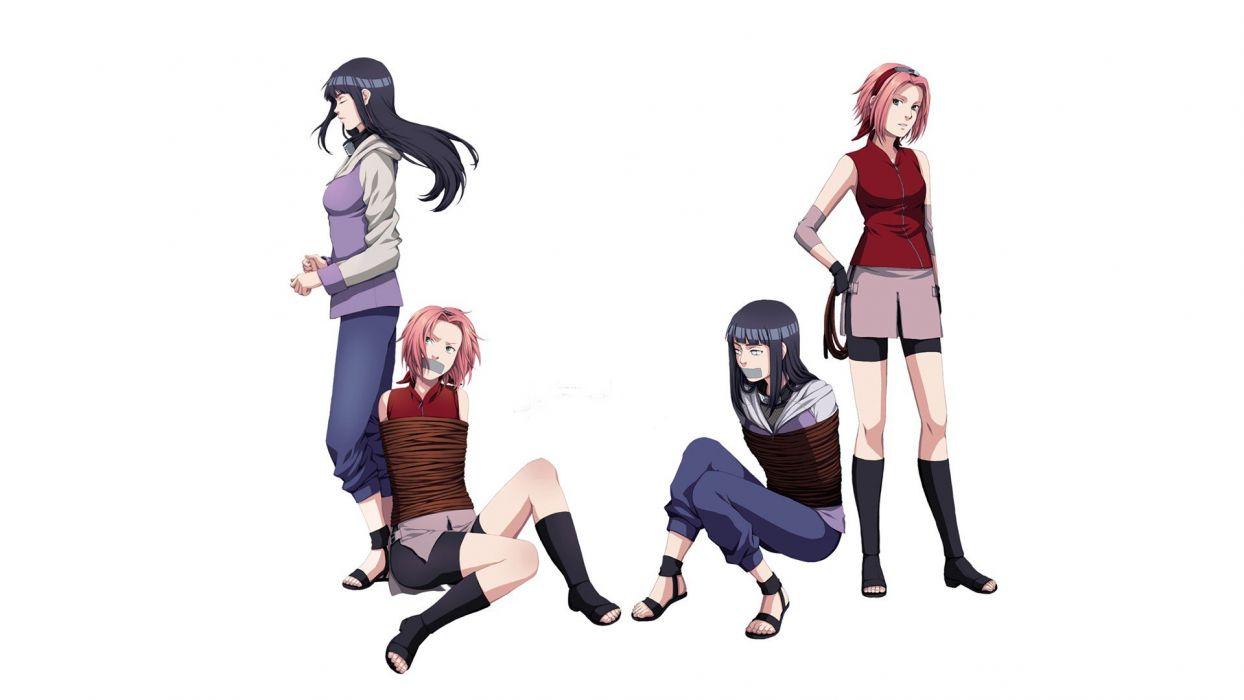 Haruno Sakura Naruto: Shippuden Hyuuga Hinata bound simple background anime girls white background wallpaper