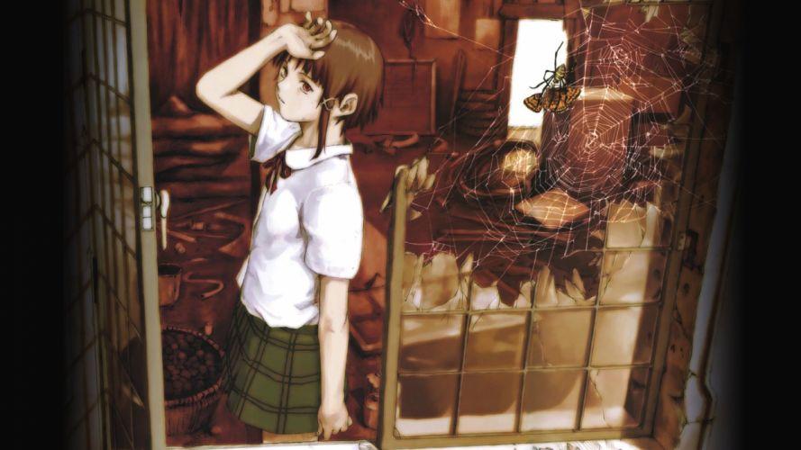 school uniforms Serial Experiments Lain Iwakura Lain anime anime girls spider webs wallpaper