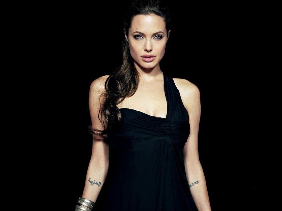 women actress Angelina Jolie models black dress wallpaper