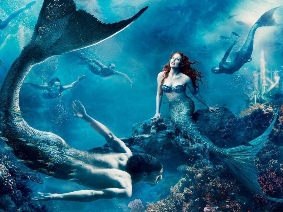 Disney Company fantasy art Julianne Moore The Little Mermaid mermaids Michael Phelps Annie Leibovitz wallpaper