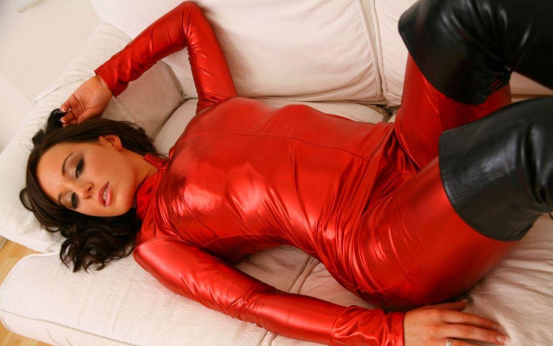 brunettes women catsuits spandex Lindsey Strutt high boots wallpaper