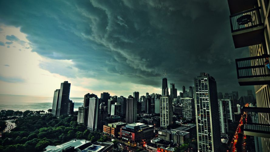 clouds cityscapes Chicago buildings wallpaper