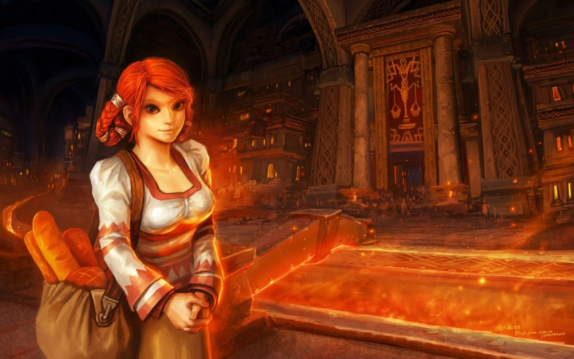 women video games cityscapes World of Warcraft lava redheads buildings fantasy art dwarfs Blizzard Entertainment artwork wallpaper