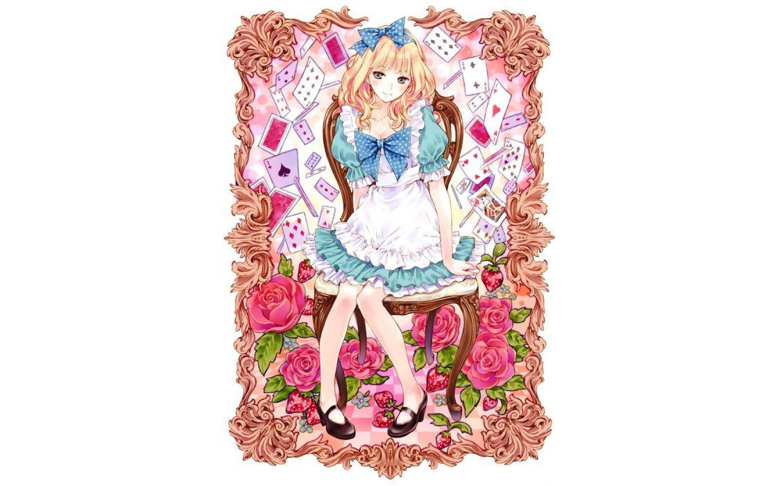 blondes cards patterns Alice Kishida Mel anime girls wallpaper