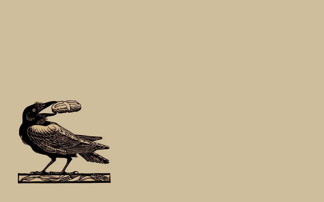 minimalistic illustrations crows wallpaper