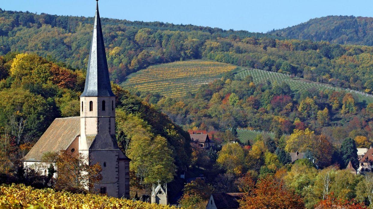 France wine churches roads wallpaper