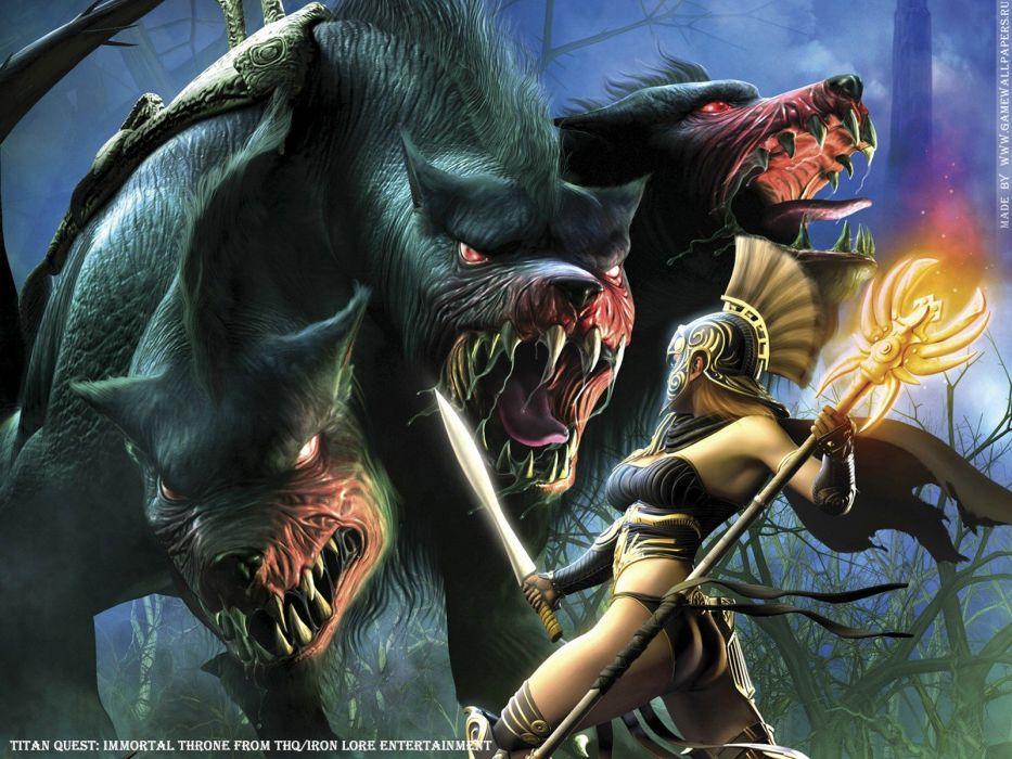 video games monsters Titan Quest warriors wallpaper