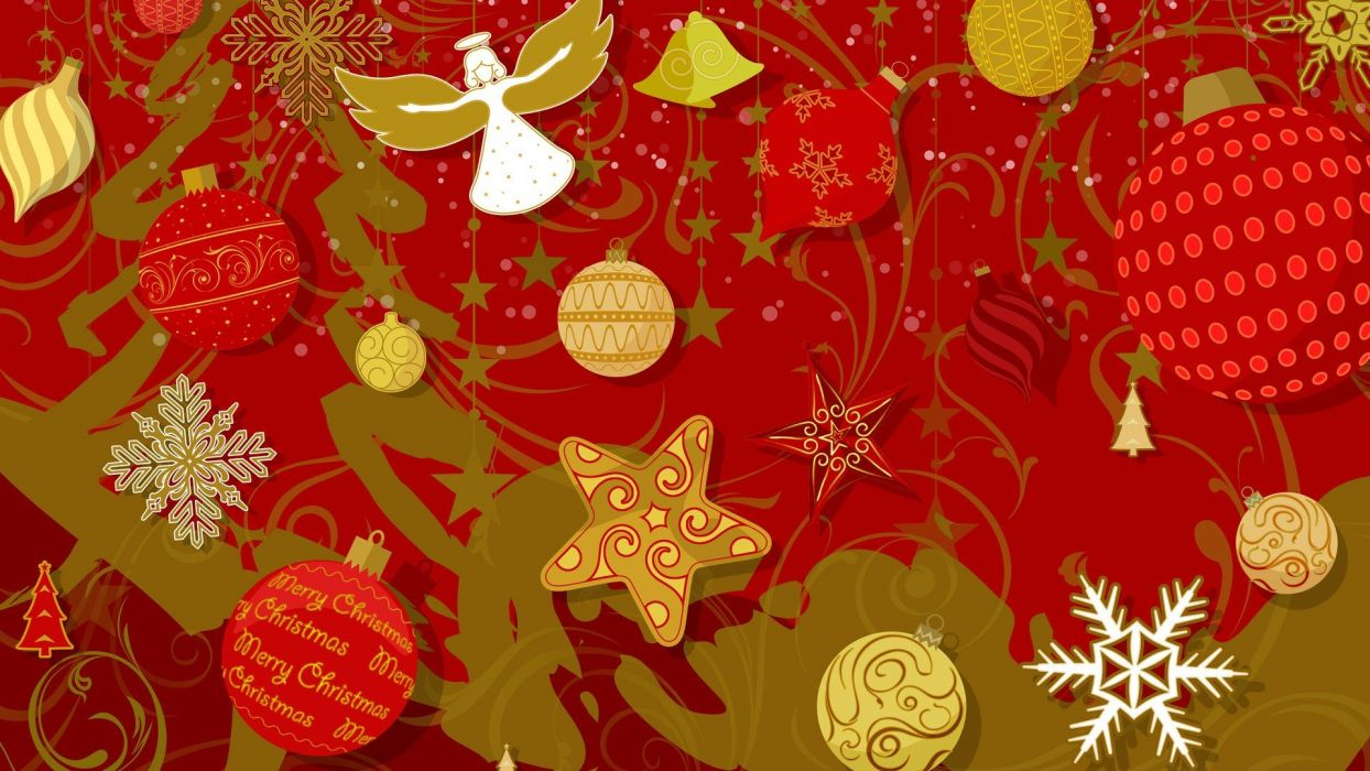 angels red stars Christmas decorations wallpaper