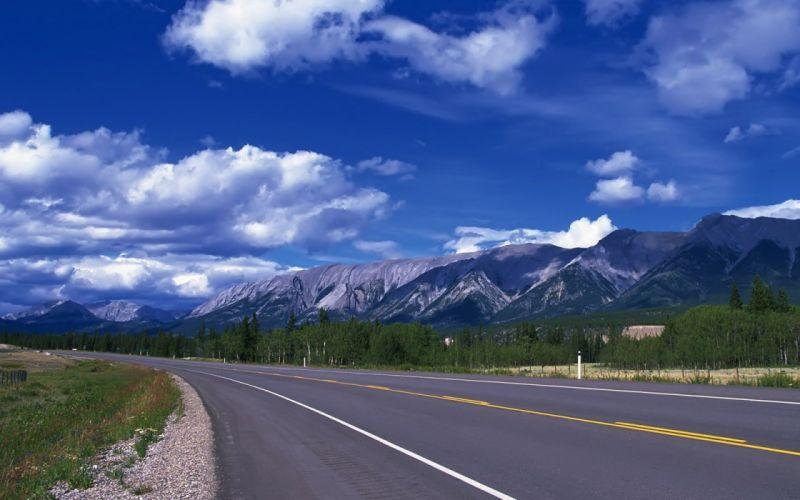 mountains clouds landscapes nature roads wallpaper