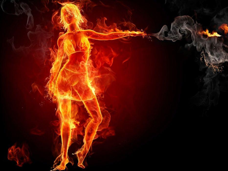 fire fire girl wallpaper