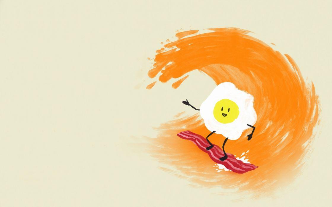 Eggs Waves Orange Surfing Bacon Wallpaper