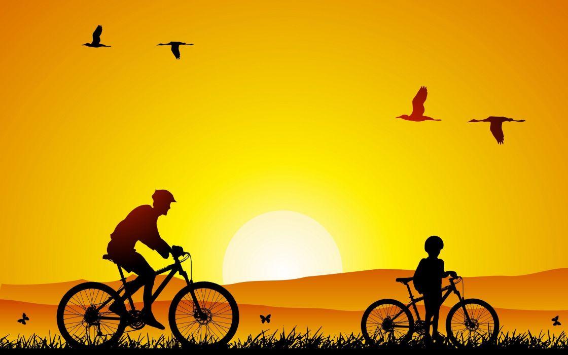birds bicycles wallpaper