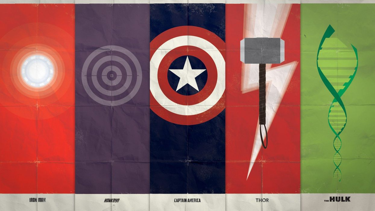 comics superheroes digital art Marvel Comics The Avengers DNA bullseye hero Arc reactor symbols Mjolnir shields wallpaper