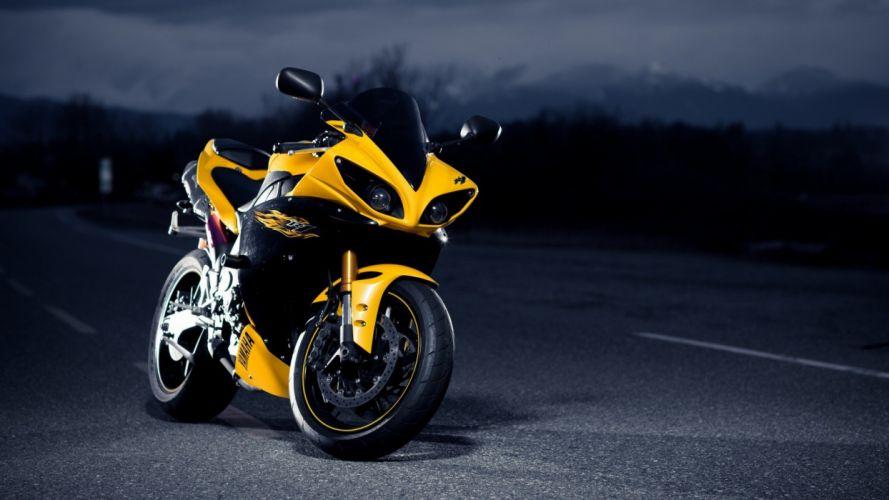 night roads motorbikes Yamaha YZF-R1 wallpaper