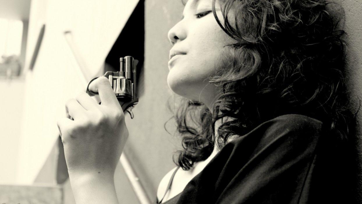 women guns monochrome Revolver wallpaper