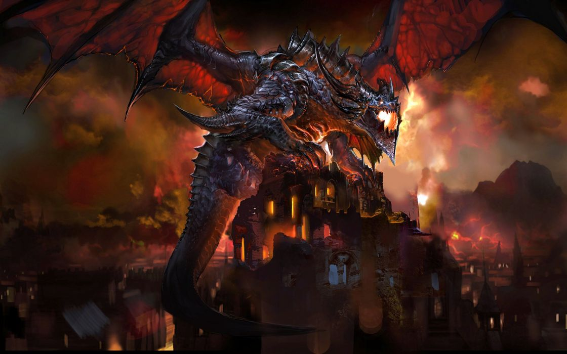 video games dragons Blizzard Entertainment World of Warcraft: Cataclysm wallpaper
