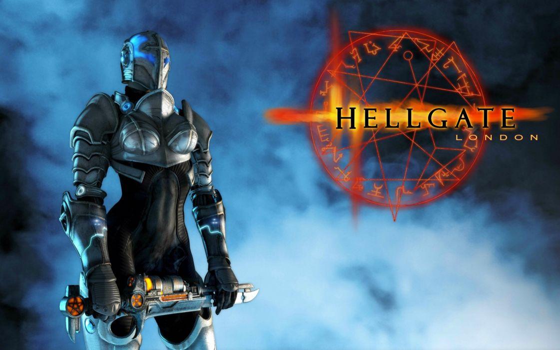 HELLGATE LONDON fantasy action sci-fi warrior knight armor poster wallpaper