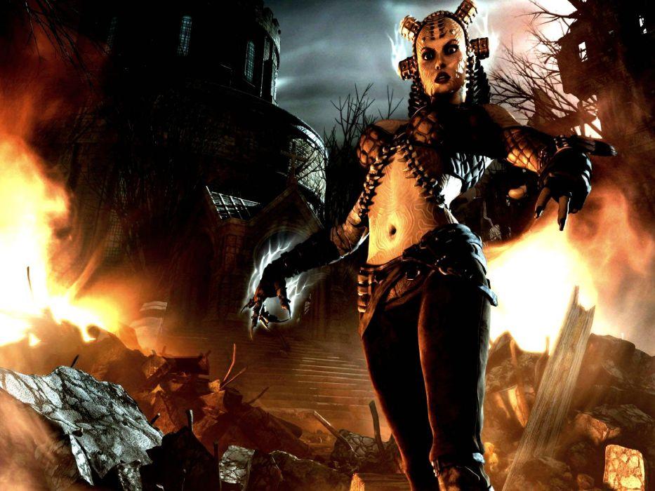 HELLGATE LONDON fantasy action sci-fi warrior fire wallpaper