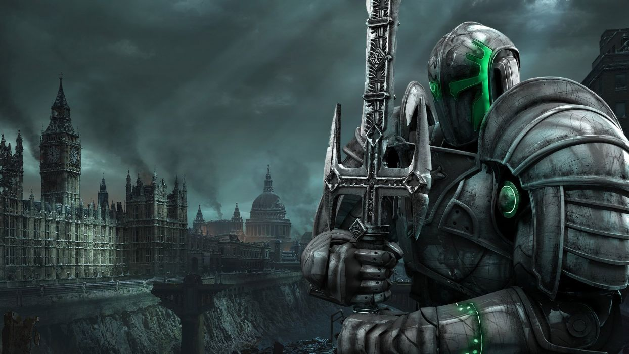 HELLGATE LONDON fantasy action sci-fi warrior knight armor city apocalyptic wallpaper