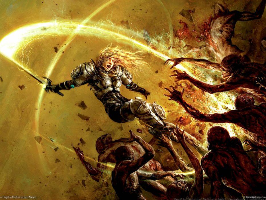 HELLGATE LONDON fantasy action sci-fi battle weapon sword dark skull skeleton blood warrior wallpaper
